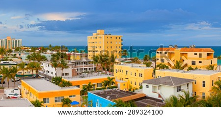 Hollywood Florida, USA. Beautiful colorful panorama of beach buildings and hotels on a sunny summer day with ocean in the background