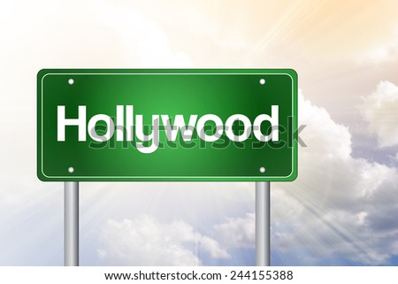 Hollywood Green Road Sign, Travel Concept - stock photo