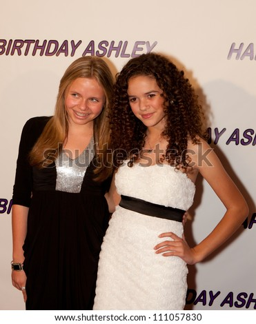 HOLLYWOOD - JAN 29:Alli Simpson (L) & Madison Pettis (R)  attends Ashley Argota 18th Birthday at the W Hotel Hollywood, January 29, 2011, in Hollywood, CA - stock photo