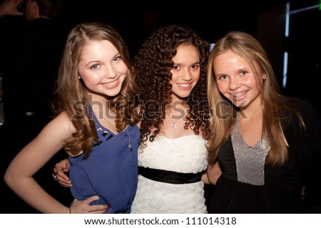 HOLLYWOOD - JAN 29: Sammi Hanratty, Madison Pettis, Alli Simpson (L to R)  attends Ashley Argota 18th Birthday at the W Hotel Hollywood, January 29, 2011, in Hollywood, CA - stock photo