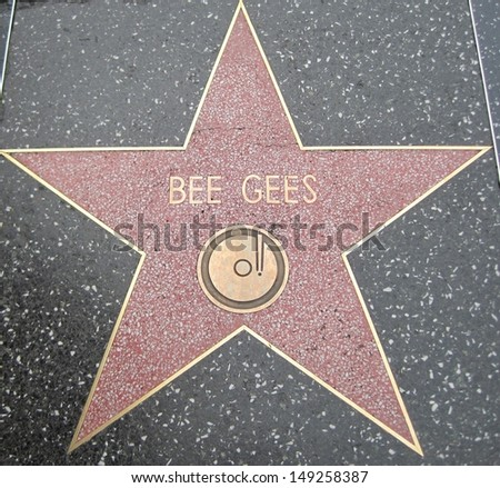 HOLLYWOOD - JULY 11: Bee Gees' star on Hollywood Walk of Fame, as seen on July 11, 2013 in Hollywood in California. This star is located on Hollywood Blvd. and is one of 2400 celebrity stars.