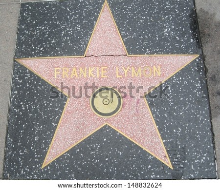 HOLLYWOOD - JULY 11: Frankie Lymon's star on Hollywood Walk of Fame on July 11, 2013 in Hollywood, California. This star is located on Hollywood Blvd. and is one of 2400 celebrity stars.