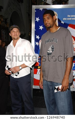 """HOLLYWOOD - JULY 26: Mark Lucas and Tim Duncan at the Premiere Of """"Talladega Nights: The Ballad Of Ricky Bobby"""" at Graumans Chinese Theatre July 26, 2006 in Hollywood. - stock photo"""