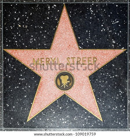 HOLLYWOOD - JUNE 26: Meryl Streeps star on Hollywood Walk of Fame on June 26, 2012 in Hollywood, California. This star is located on Hollywood Blvd. and is one of 2400 celebrity stars.