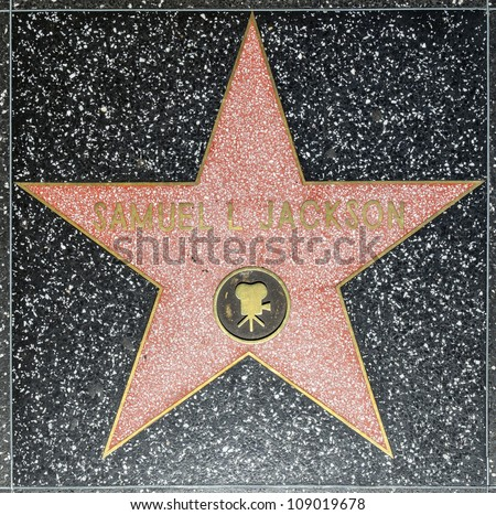 HOLLYWOOD - JUNE 26: Samuel L Jacksons star on Hollywood Walk of Fame on June 26, 2012 in Hollywood, California. This star is located on Hollywood Blvd. and is one of 2400 celebrity stars. - stock photo