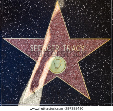 HOLLYWOOD - JUNE 24: Spencer Tracys star on Hollywood Walk of Fame on June 24, 2012 in Hollywood, California. This star is located on Hollywood Blvd. and is one of 2400 celebrity stars. - stock photo