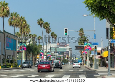 Hollywood, Los Angeles, California, USA - June 8th, 2016. Santa Monica Blvd. Driving along santa Monica Blvd in Hollywood. - stock photo