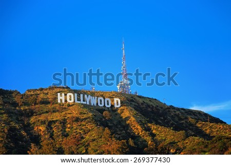 Hollywood - March 2015: Hollywood sign on the hill in California valley, instagram toning, March 15, 2015, Los Angeles, California, USA  - stock photo