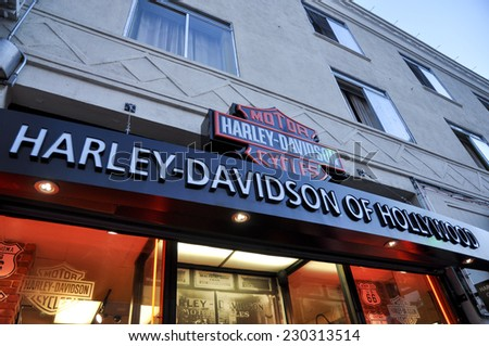 HOLLYWOOD - MAY 11, 2012 - A view on the Harley Davidson of Hollywood store in Los Angeles, Hollywood on may 11, 2012 - stock photo