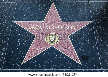 HOLLYWOOD - MAY 12: Jack Nicholson's star on Hollywood Walk of Fame on May 12, 2012 in Hollywood, California. This star is located on Hollywood Blvd. and is one of 2400 celebrity stars. - stock photo