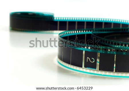 Hollywood 35mm film strip on white background