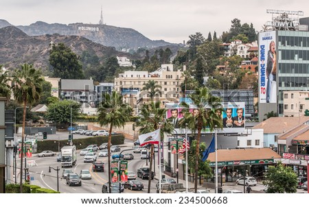 HOLLYWOOD - NOV 11, 2014: Highland Blvd. as viewed from Hollywood and Highland attraction on an overcast day. - stock photo