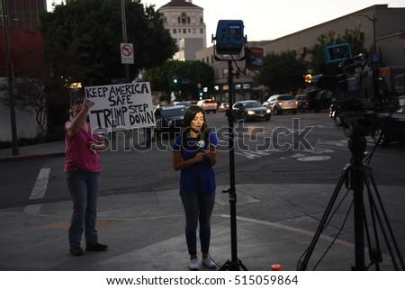 HOLLYWOOD - NOVEMBER 13 2016: Activists gathered in front of CNN building for another rally and protest against the election of Republican President-elect Donald Trump  in Hollywood, CA