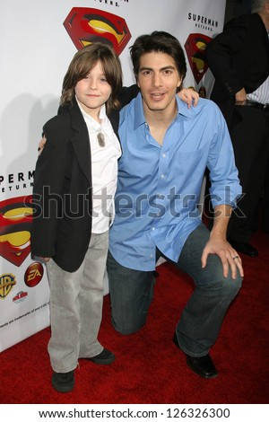 "HOLLYWOOD - NOVEMBER 16: Tristan Lake Leabu and Brandon Routh at the ""Superman Returns"" DVD and Video Game Launch Party at Social Hollywood November 16, 2006 in Hollywood"