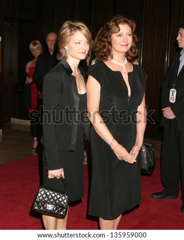 HOLLYWOOD - OCTOBER 24: Jodie Foster Susan Sarandon participate at Hollywood Film Festival Gala in Beverly Hilton Hotel October 24, 2005 in Los Angeles, CA.