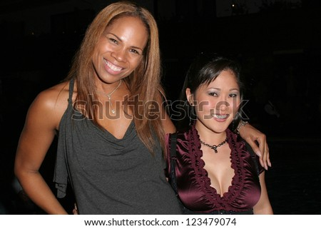 "HOLLYWOOD - OCTOBER 21: Misha Harris and Cathy Shim at the ""Jelessy Jeans"" Fashion Week After-Party on October 21, 2006 at Hotel Roosevelt, Hollywood, CA."
