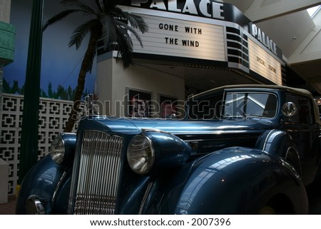 hollywood premier with vintage auto in art-deco style - stock photo