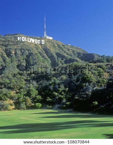 Hollywood sign on the hillsides of Hollywood, Los Angeles, California - stock photo