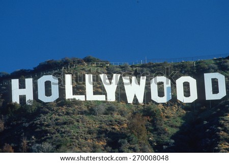 Hollywood Sign on the Hollywood Hills, California - stock photo