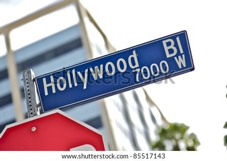 Hollywood Street Sign. - stock photo