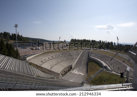 Holmenkollen ski jump in Oslo, Norway, Scandinavia - stock photo