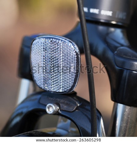 HOLO, SWEDEN, March 20. 2015.  Bicycle reflectors mounted in the front of the bike