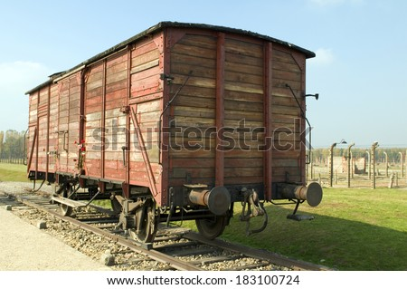 Holocaust Death Camp cattle car train Nazi Germany concentration camp Auschwitz-Birkenau - stock photo