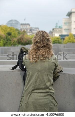 Holocaust Memorial in Berlin, Germany. - stock photo