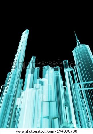Holographic city - stock photo