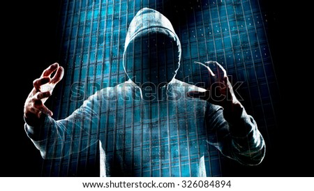 Holographic cyber hacker attack - stock photo