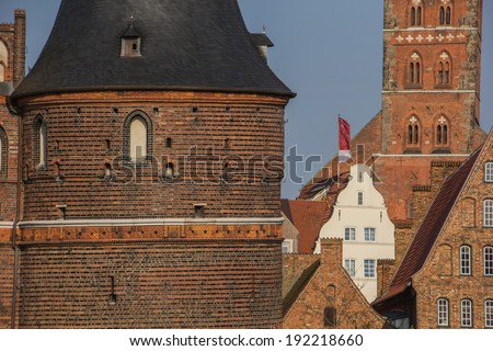 Holstein gate and salt storehouses in Lubeck, Germany - stock photo