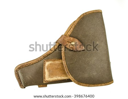 holster isolated on white background / Gun in a holster isolated on white  background / World War II Soviet officer equipment / military holster for gun isolated on the white background  - stock photo