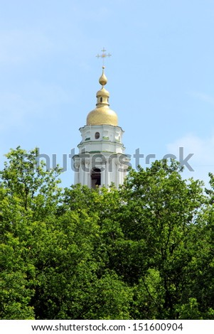 Holy Assumption Monastery - the main temple of the city of Poltava, Ukraine/Bell Holy Assumption Cathedral - stock photo