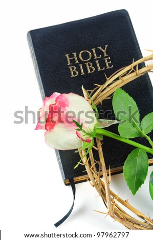 holy bible and crown of thorns with  rose isolated on white background
