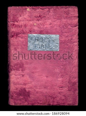 Holy Bible in a soft velvet cover isolated on black background - stock photo