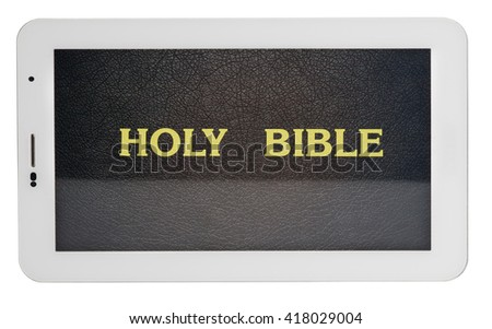 holy bible in tablet isolated on white background
