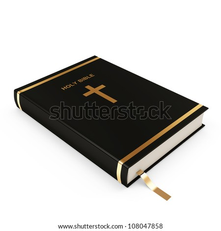 Holy Bible isolated on white background - stock photo