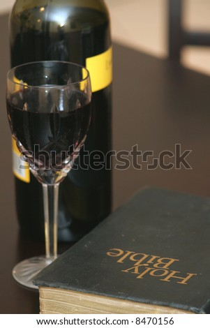 Holy Bible & Wine - stock photo