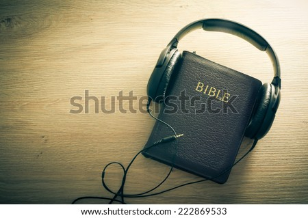 Holy Bible Headphones Symbol Listening Word Stock Photo Royalty