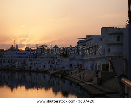 Holy city Pushkar with ghats - stock photo