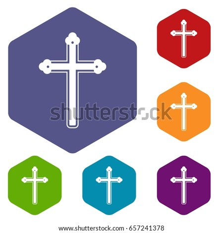 Holy cross icons set hexagon isolated  illustration