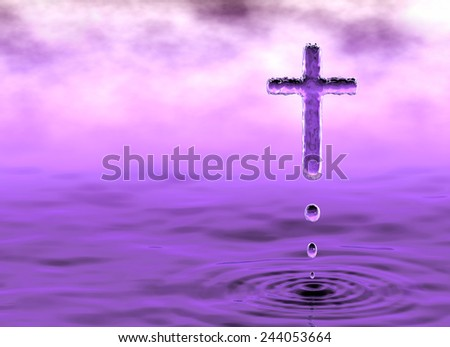 Holy Cross Mystery. Christian religious symbol of Holy Water - stock photo