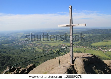 holy cross on top of mountain with magnificent view