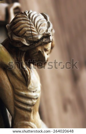Holy cross with crucified Jesus Christ  (details) - stock photo