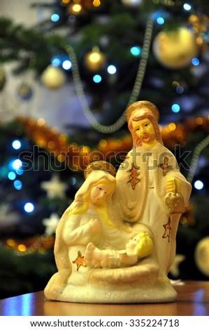 Holy family - Christmas - stock photo
