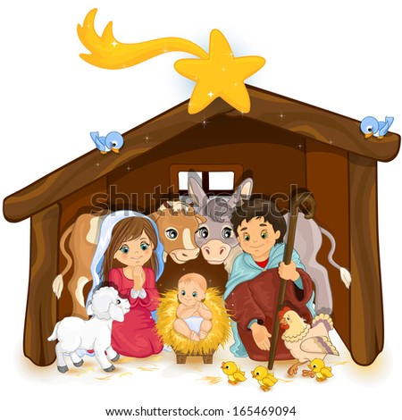 Holy Family in a hut and white background - stock photo