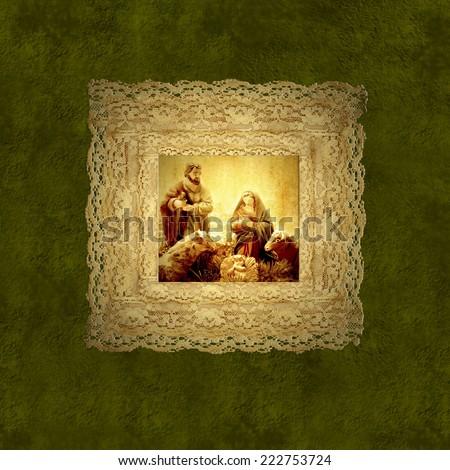 Holy family nativity scene on vintage background - stock photo