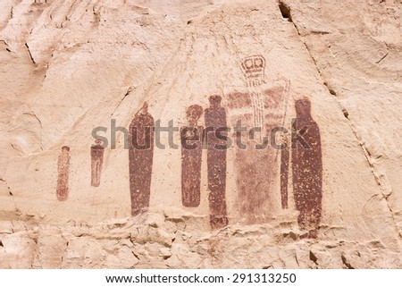 Holy Ghost Petroglyph at the Great Gallery in Horseshoe Canyon, Canyonlands National Park, UT. - stock photo