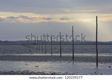 Holy Island, Northumberland. Pilgrims causeway.  Footpath to Lindisfarne from the mainland.