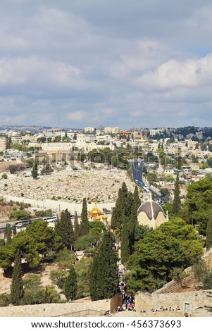 Holy Jerusalem from the Mount of Olives. Golden domes of an Orthodox church of Mary Magdalene